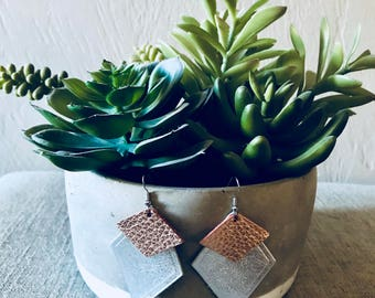 Rose Gold and Silver Art Deco Layered Earrings
