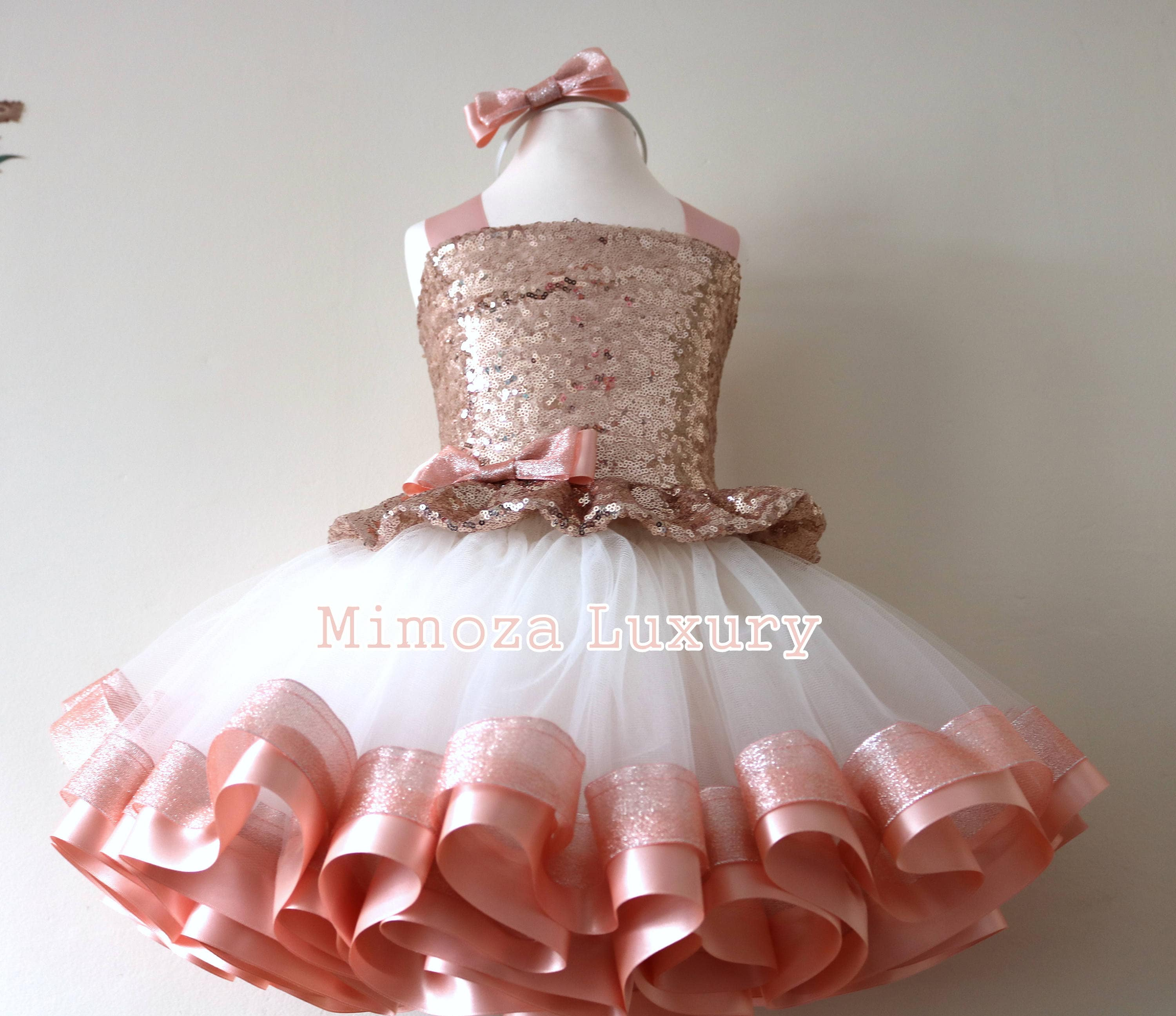 Luxury Rose Gold Birthday Outfit, rose gold girls birthday dress ...