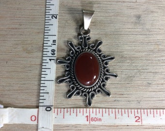 Vintage Old Pawn 925 Sterling Silver 11.5g Carnelian Pendant Signed Used