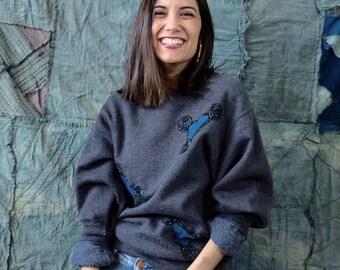 Plus Indigo teint Sweatshirt avec détails d'impression Wax africain