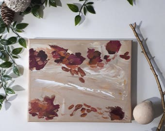 """Acrylic on Canvas Original Painting Abstract Art   """"Fallen Leaves"""" 8"""" x 10"""" Painting on Stretched Canvas Wall art Home decor Nature lover"""