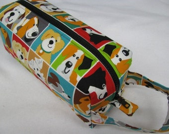 Woof Dog Lover Squares Cosmetic Bag Makeup Bag LARGE