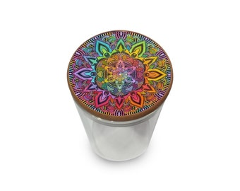 Rainbow Mandela Wood and Glass Stash Jar w/ Air Tight Seal Eco Friendly Sustainable Storage Jars for storing Herbs Spice and More! Mandalas