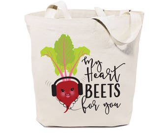 My Heart Beets for You Cotton Canvas Reusable Grocery Bag and Farmers Market Tote Bag, Food Pun, Funny, Women's Gift, Valentine's Day