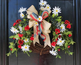 Summer Wreath, Fourth of July Wreath, Patriotic Wreath, USA Wreath, Front Door Wreath, 4th of July Wreath, Red White and Blue