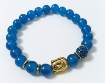 Natural Pearl Bracelet: Agate blue & Buddha