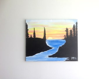 River in the Mountains Painting, River Painting, River Art, Mountain Painting, Sunset painting, Sunset over Water Painting, Wall Art, Nature