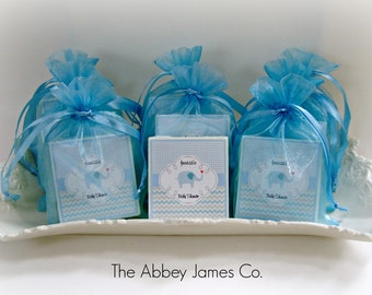 Baby  Boy Shower Favors, Baby Elephant Shower Favors,  set of 10 soap favors