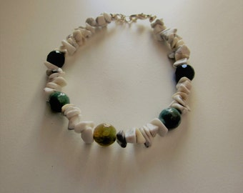 Green Fancy Jasper and White Howlite Chip Bracelet One of a Kind