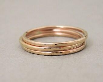 Rose Gold Rings three 16 gauge hammered rings stacking rings bluebirdss jewellery Australia