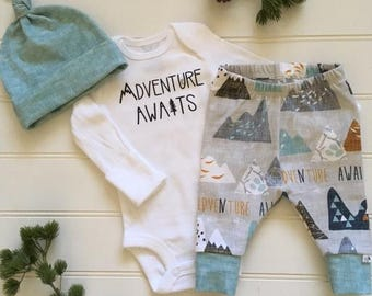 BEST SELLER! Adventure Awaits/Newborn Outfit/Bring Home Outfit/Toddler leggings