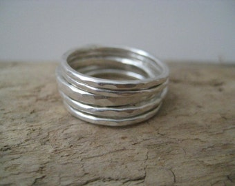 Stacking Rings - Silver Stackable Rings, Thin Stacking Rings, Dainty Rings, Thumb Rings, Minimalist Rings, Everyday Rings, Gift for Her