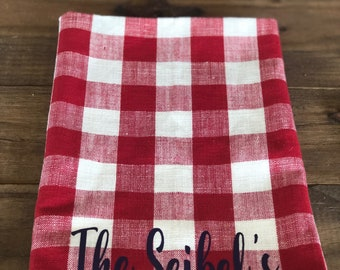 Red Checkered Hand Towel