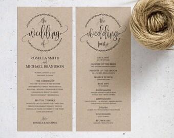 Rustic Wedding Program Template, Wedding Ceremony Program, Printable Programs, Kraft Wedding Program, fan, PDF Instant Download, WPC_530SD2A