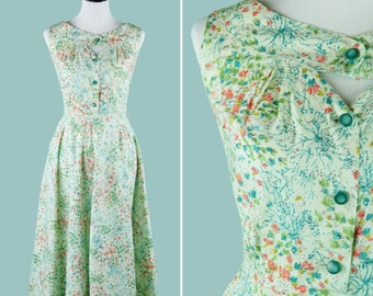1950s Abstract Foral Cotton Dress - Rounded Cutout Neckline - Button Front - Lightly Pleated Skirt