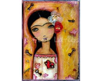 Aimez-moi True - Frida Kahlo impression de peinture par FLOR LARIOS (5 x 7 pouces)