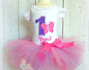 Butterfly birthday outfit - 1st birthday butterfly tutu outfit - pink and purple personalized embroidered butterfly themed birthday outfit