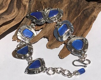 Sterling Silver and Colbalt Blue Beachglass Bracelet
