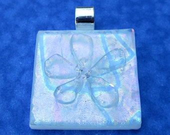 Rainbow dichroic fused glass Flower Pendant