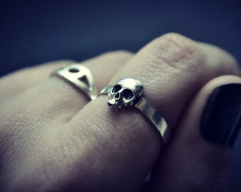 Skull ring, Mens Ring, Sterling Silver Ring, Rocker, Punk, Biker, Pirates, Cool Gift for Dad