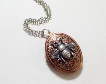 Copper Silver Bee Locket, Copper Floral Locket, Flower Locket, Oval Copper Locket Pendant, Bee Locket, Two Tone Locket Necklace