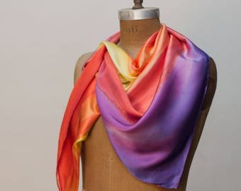 Hibiscus Red and Purple Printed 100% Silk Scarf Red, Yellow, Purple