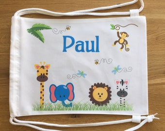 Personalized Turn-/Sportbeutel with name for children motif Zoo boy/girl