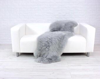 Giant genuine British DOUBLE sheepskin rug dyed silver grey 190cm x 70cm D24