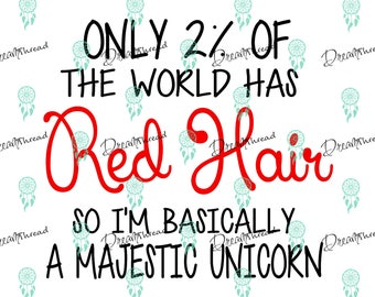 Red hair quote File, SVG file, DXF, Cutting File, silhouette file, cricut file, Majestic Unicorn svg, red hair unicorn svg