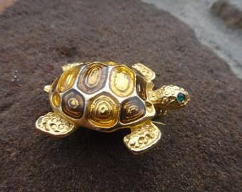 Stunning Beautiful Vintage Unique Turtle Brooch Pin Button Pendant Unique Jewelry Turtle Signed Designer