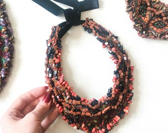 Embroidery jewelry, vyshyvanka style, hand embroidery, statement necklace, statement jewelry, boho jewelry, ukrainian jewelry, ethno style