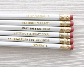 Knitting Pencil | Gold Foiled Pencils | Knitting Stocking Fillers | Knitting Pencil Set | Unique Knitting Gift | White and Gold Pencils
