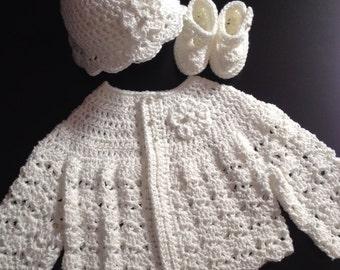 Crochet Cotton Baby Sweater Hat, Booties Set White