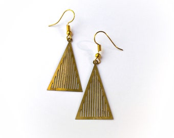Simple Gold Pyramid Earrings - gold brass earrings, triangle earrings, geometric earrings, minimalist earrings