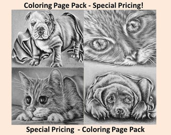 Printable coloring page, Adult Coloring Page, Instant download coloring, Dog, Cat, coloring pages, adult coloring, coloring book for adult