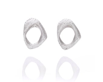 Tiny cast hand carved texture stud earrings