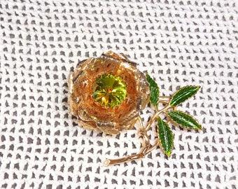 MINT Vintage Sarah Coventry Rhinestone Flower Brooch Pin Green Watermelon rhinestone