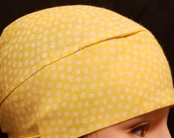 Handmade Yellow w Little White Flowers Chemo Cap, Skull Cap, Cancer, Hats, Alopicha, Do Rag, Hair Loss, Surgical Cap, Head Wrap, Do Rag