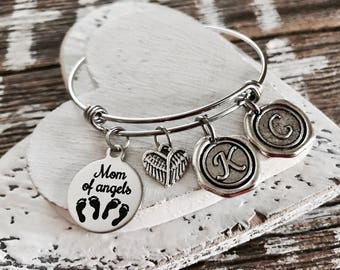 Mom of angels, Angel twins, Mother of twins, Mom of twins, Mommy of twins, Silver Bracelet, Charm Bracelet, Gifts, New Mom, Twins Memorial
