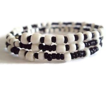 Eco Friendly Unisex Wrap Bracelet Black and White