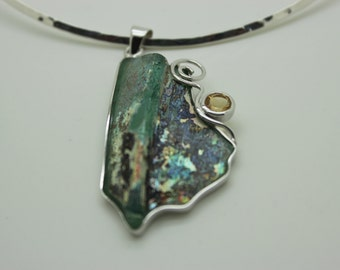 Interesting 925 sterling silver pendant Antique Roman Glass pendant One of A kind Unique jewelry