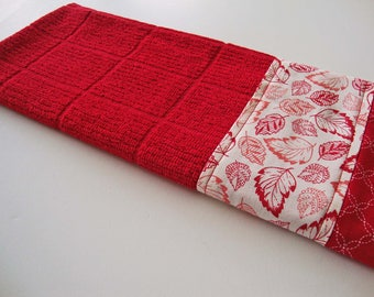 Red Coral Leaves on Red Kitchen Dish Towel - Fabric Trimmed Hand Towel - Tea Towel