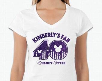 40th Glitter Birthday Tshirt - Custom Name