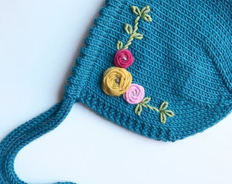 DOROTHY // Hand embroidered picot edge baby bonnet