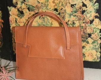 Vintage Leather Handbag/1940's Handbag/Tan Leather Handbag/Reenactment Handbag(Ref1955F)