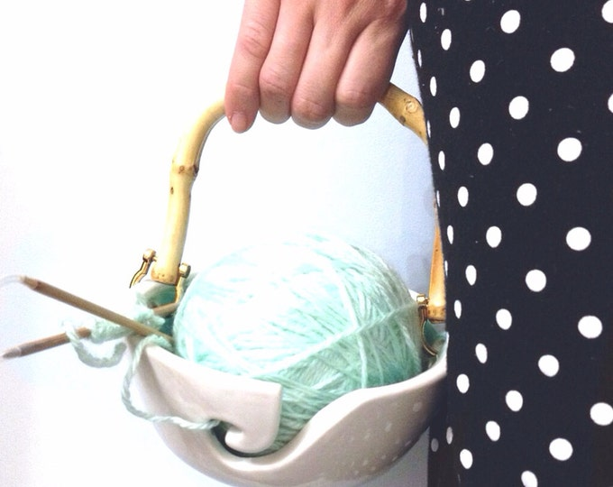 Portable Handle Yarn Bowl Turquoise and White Porcelain Pottery Yarn Keeper Yarn Feeder Knitting Bowl Stunning  MADE TO ORDER