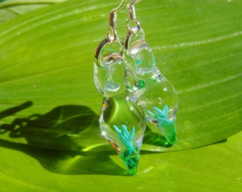 Tiny Blown Glass Green Swirl Earrings on Sterling Silver