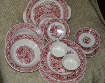 MEMORY LANE IRONSTONE, Two (5) Piece Place Settings, Dinnerware, 1 tabbed Cake Plate, 1965, made in U.S.A.