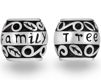 2PCs Silver Family Tree Charm European Beads European Charm Bracelets #22
