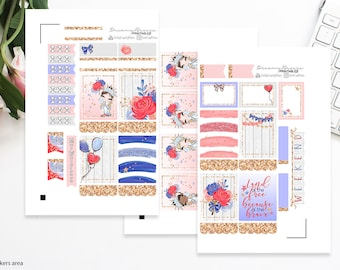 4th of July Mini Kit | Printable Planner Stickers | Erin Condren Life Planner
